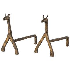 Pair of 1940s Modernist Horse Andirons