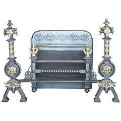 19th Century Mid-Victorian Cast Iron and Bronze Fire Basket