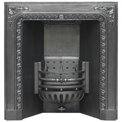 19th Century Victorian Cast Iron Fireplace Grate by Carron Co.