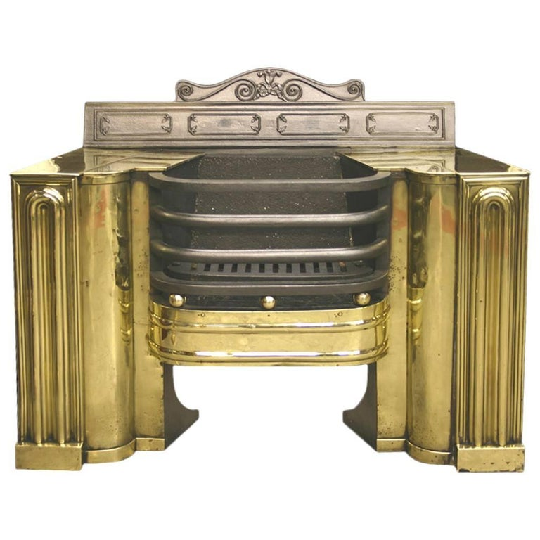 19th Century Regency Cast Iron and Brass Hob Grate For Sale