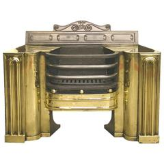 19th Century Regency Cast Iron and Brass Hob Grate