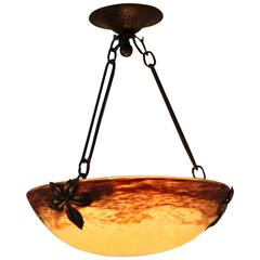 French Art Nouveau Wrought Iron and Art Glass Chandelier by Muller Freres