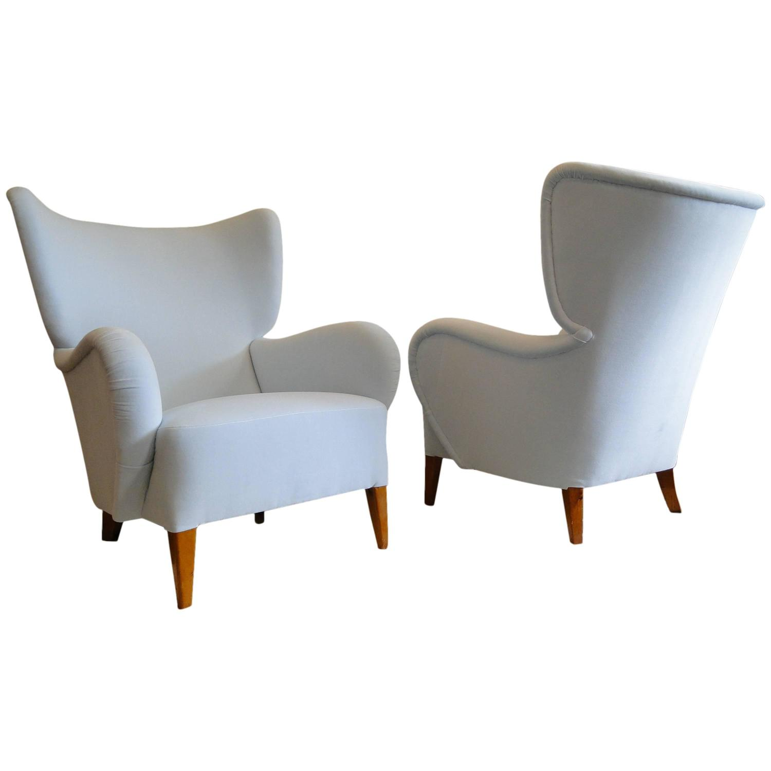 Very Impressive portraiture of Pair of Scandinavian High Back Armchairs For Sale at 1stdibs with #73431C color and 1500x1500 pixels