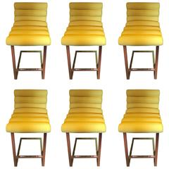 Milo Baughman Yellow Bar Stools