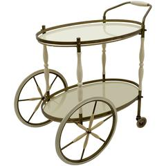 Bronze and Glass Oval Bar and Serving Cart / Trolley