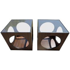 Cool Pair of Lane Walnut Cube Side Tables Circle Cut-Outs, Mid-Century Modern