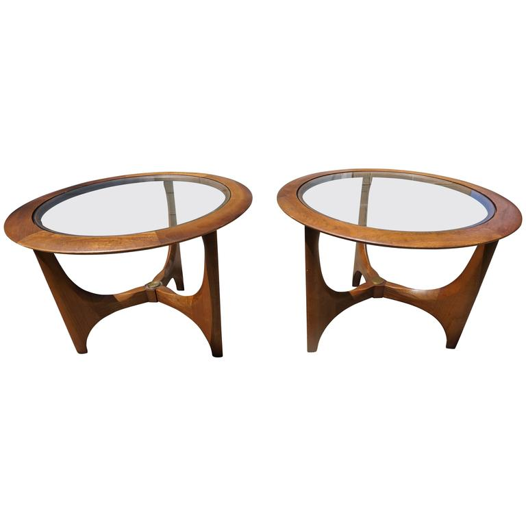 Pair Of Mid Century Modern Walnut Glass Round Side Tables, Made By Lane 1
