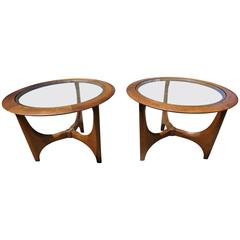 Pair of Mid-Century Modern Walnut Glass Round Side Tables, Made by Lane