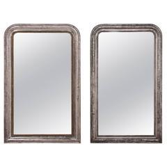 Near Pair of Silver Gilt Louis Philippe Mirrors