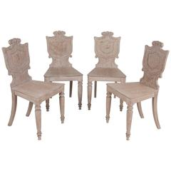 Four English Limed Oak Hall Chairs
