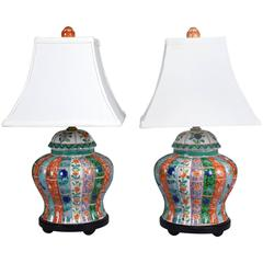 Pair of Chinese Ginger Jars Mounted as Lamps