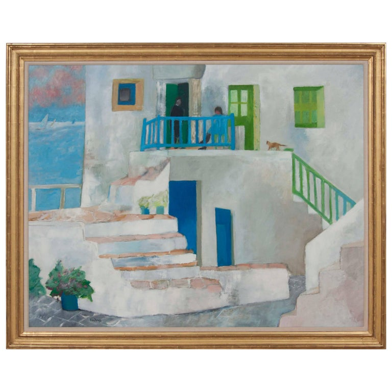 """""""Le Chat Jaune, Folegandros"""" Large Painting by Guy Bardone For Sale"""