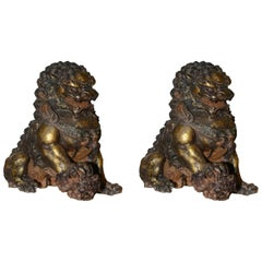 Fu Dogs Set of Two Chinese Sculptures in Melting