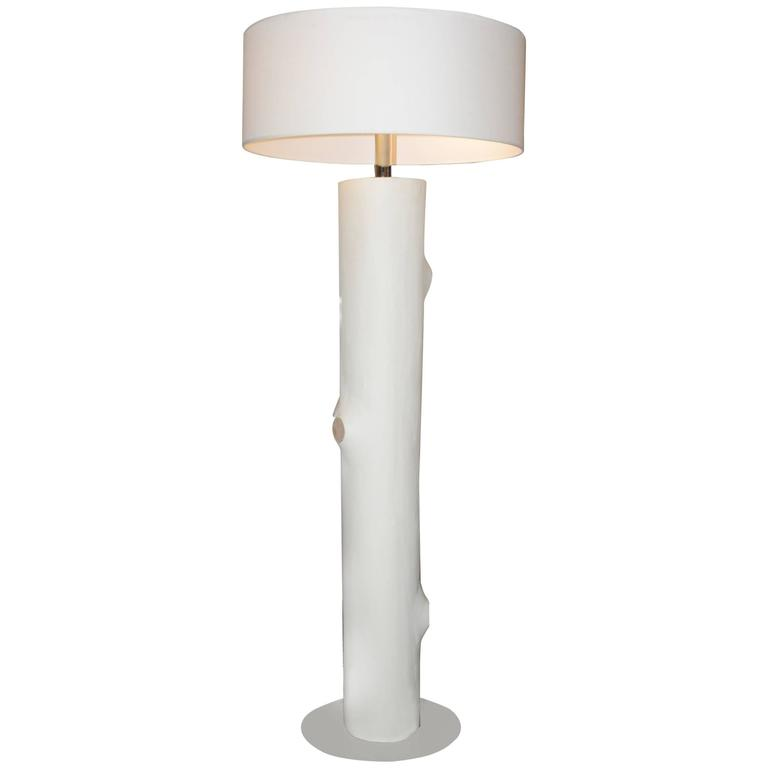 White Leather Trunk Floor Lamp For Sale