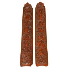 Pair of Carved Chinese Bamboo Panels