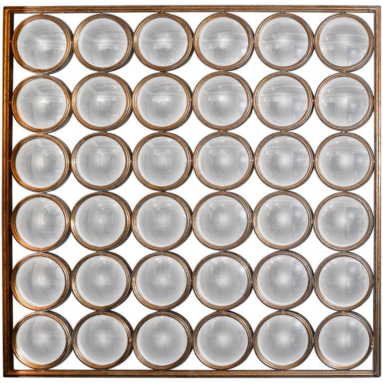 Square Mirror, 36 Faceted Round Convex Mirrors
