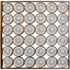 Square Mirror, 36 Faceted Round Convex Mirrors