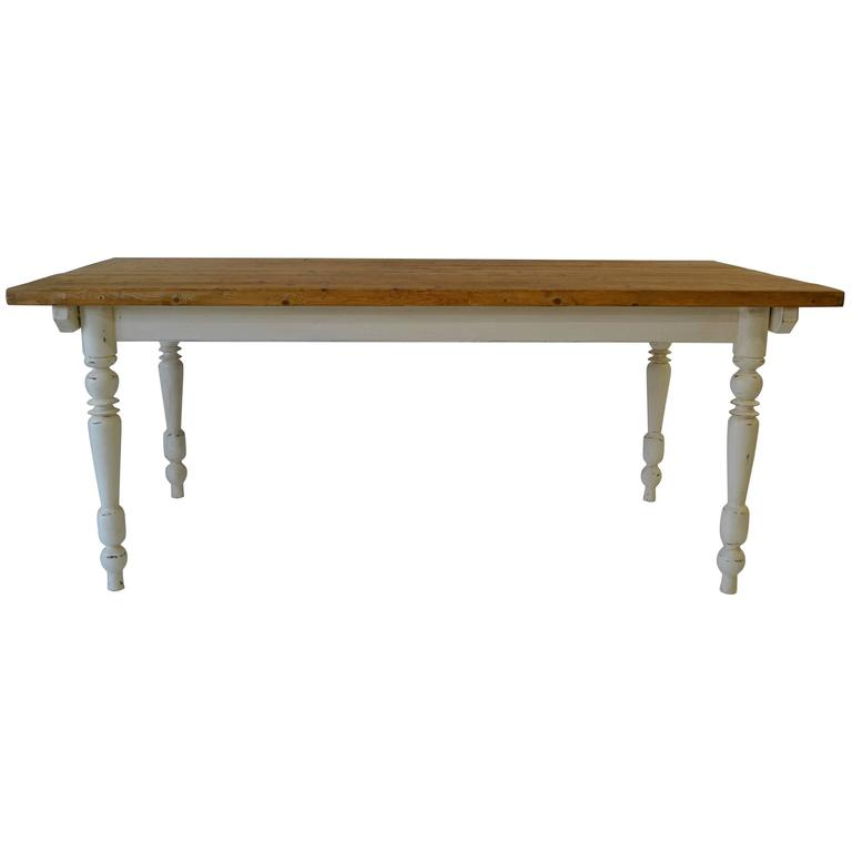 Vintage Pine and Hardwood Farmhouse Table 1