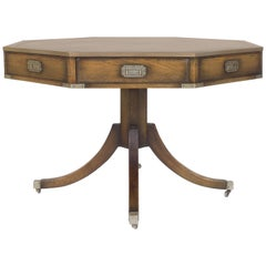 Vintage Campaign Style Center or Drum Table