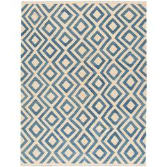 Modern Blue and Ivory Turkish Kilim Rug