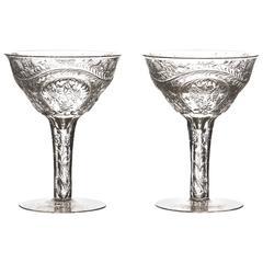 12 Webb Rock Crystal Hollow Stem Champagne Goblets