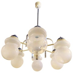 Mid-Century Modern Chandelier with Frosted Globes