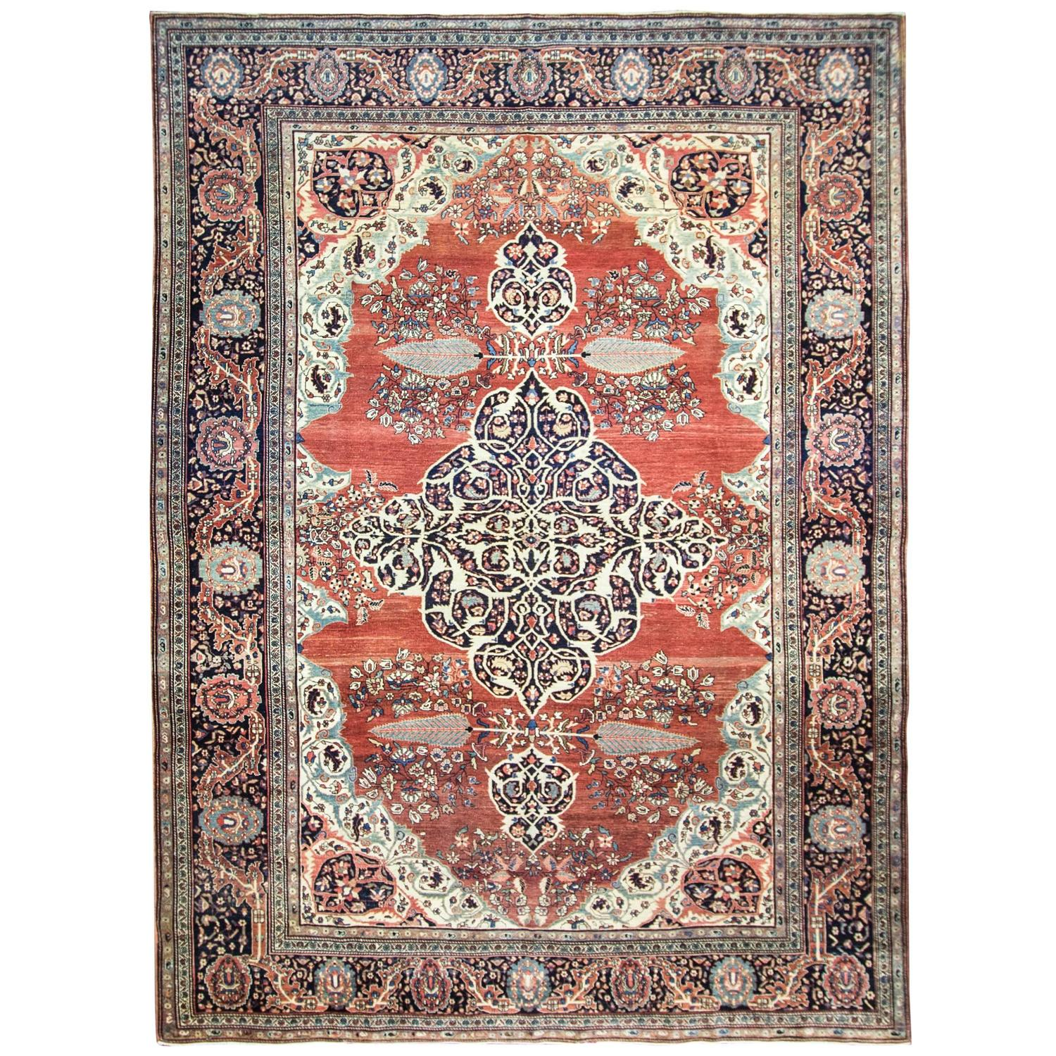 Striking Antique Feraghan Sarouk Carpet For Sale At 1stdibs