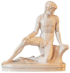 """""""Kneeling Youth,"""" Unique Classically-Inspired Art Deco Sculpture by Netzer"""