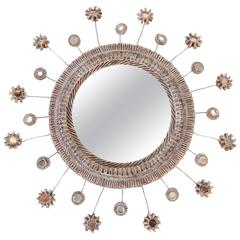 Beautifully Carved Talosel Framed Mirror in The Manner of Line Vautrin C. 1960s