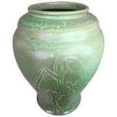 "Japanese Fine Antique Hand Made & Hand Glazed ""Heron & Iris"" Vase, 1912"