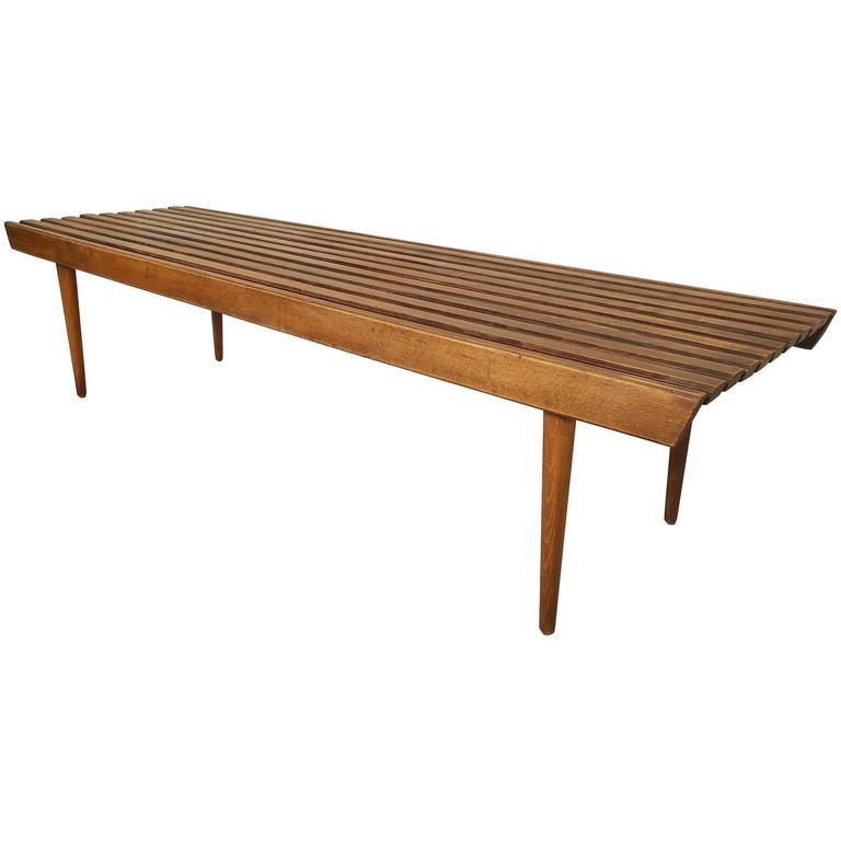 Vintage Modern Walnut Slat Bench