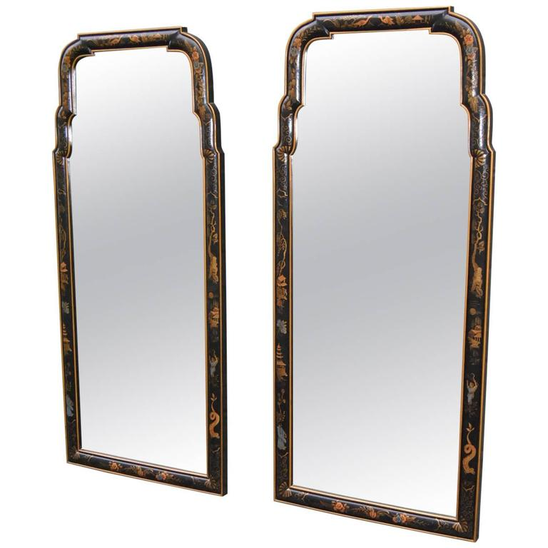 Pair of asian style chinoiserie drexel mirrors black with for Asian style mirror
