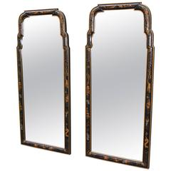 Pair of Asian Style Chinoiserie Drexel Mirrors Black with Gold Painted Scenes