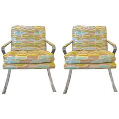 Pair of Upholstered Chrome Barcelona Style Armchairs