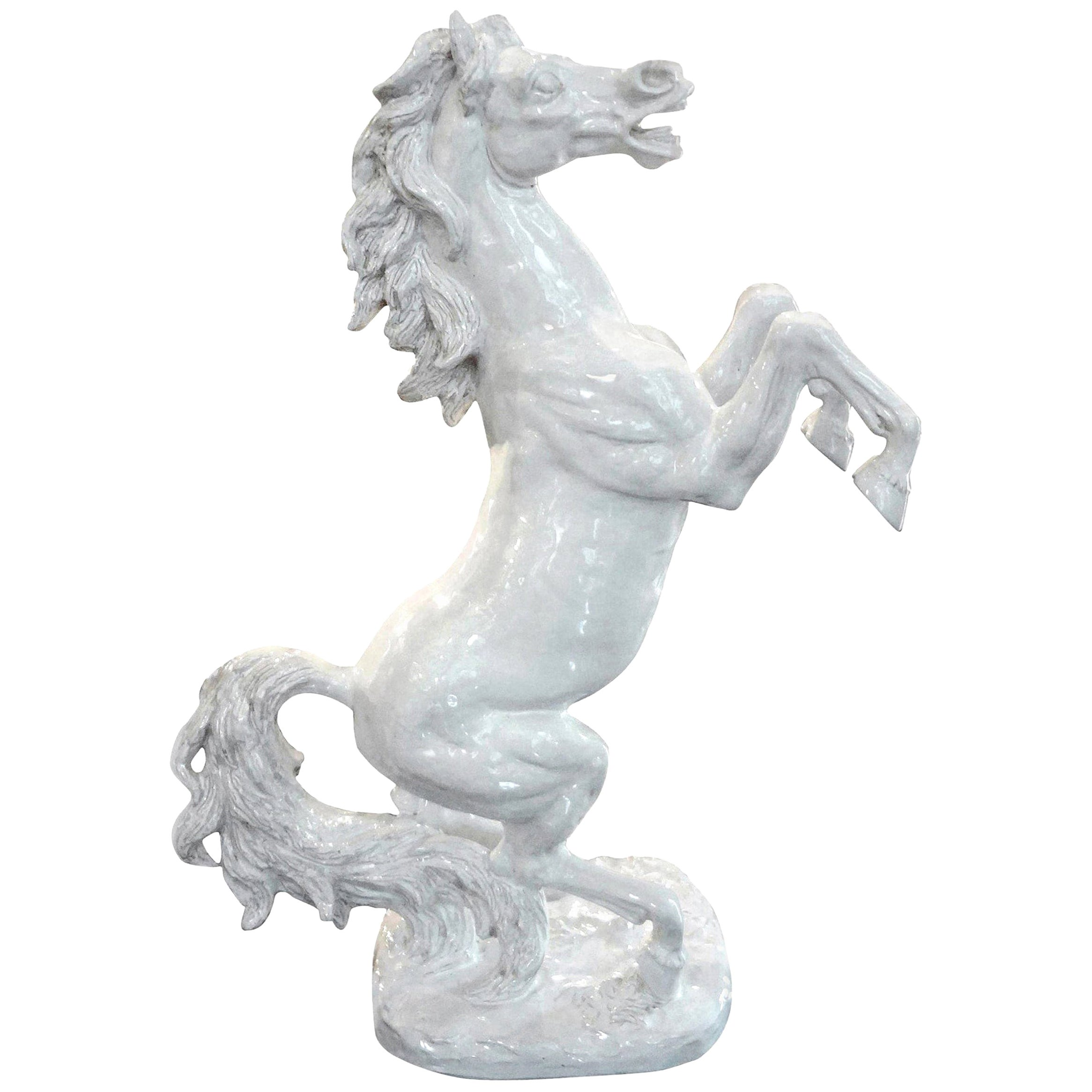Large Italian White Glazed Terracotta Horse Sculpture
