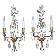 Pair of Baguès French Floral Gilt Bronze Wall Sconces