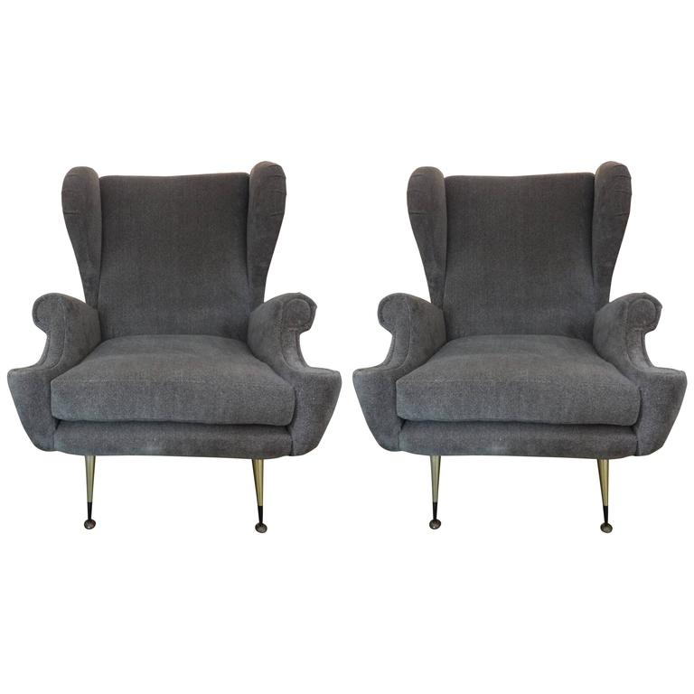 Pair Of Mid-Century Italian Gio Ponti Inspired Lounge Chairs Or Armchairs