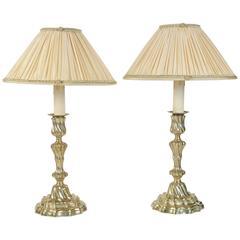 Pair of French Louis XV Period Ormolu Candlesticks Lamps, circa 1760