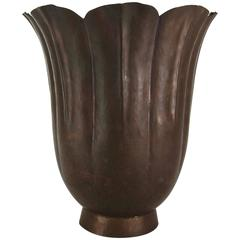 Marie Zimmermann Fluted Floriform Vase with Butterscotch Patina