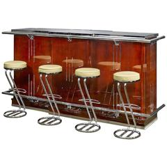 Exceptional Parisian Art Deco Period Mahogany Bar