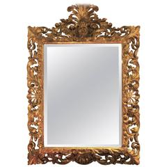 Late 19th Century Italian Carved and Gilt Baroque-Style Mirror