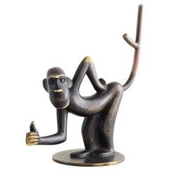 Brass Monkey Figurine Pretzel Holder, Ring Holder by Richard Rohac