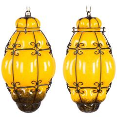 Pair of Mid-Century Caged Murano Glass Pendant Lanterns, 1950s