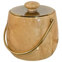 Elegant Mid-Century Modern Ice Bucket in Goatskin by Aldo Tura