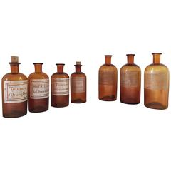 Collection of Seven French Antique Apothecary Bottles