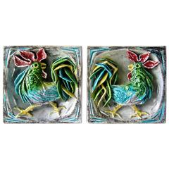 San Polo Italian Design Studio Ceramic Rooster Wall Tiles