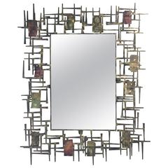Brutalist Nail and Metal Mirror in the Manner of Silas Seandel