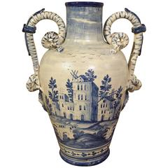 Antique Blue and White Vase from Savona, Italy