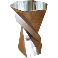 Cubist Pedestal or Side Table in Mirrored Stainless Steel