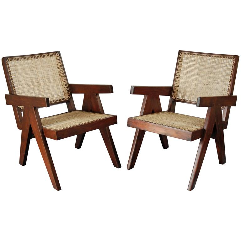 Pair Of Easy Armchairs By Pierre Jeanneret At 1stdibs